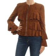 INC Womens Brown Ruffled Zip Up Jacket  Size: M