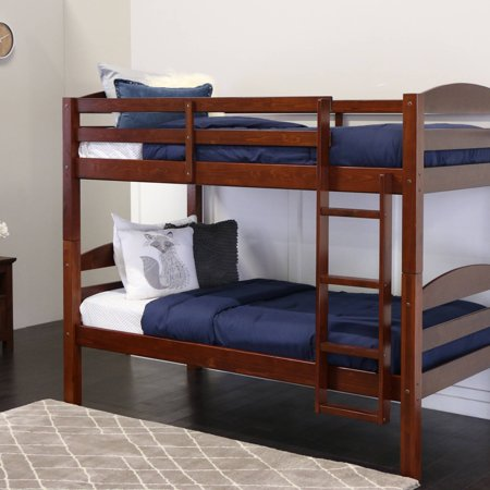 Solid Thin (Walker Edison Solid Wood Twin Over Twin Bunk Bed -)