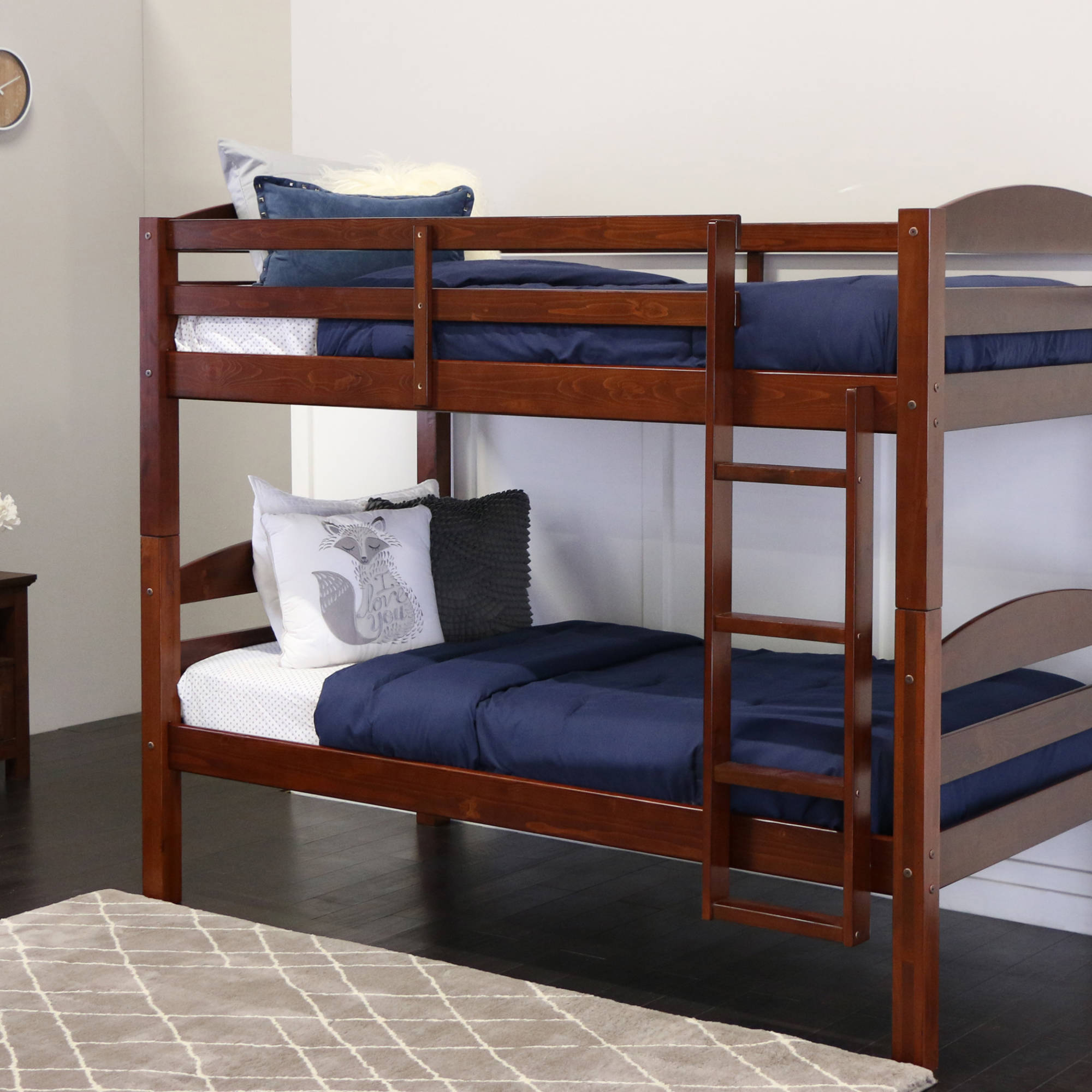 Twin Over Twin Solid Wood Bunk Bed, Multiple Colors
