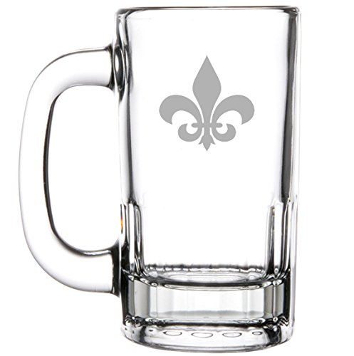 12oz Beer Mug Stein Glass Fleur-de-lis by