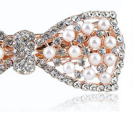 Pearl And Diamond Bow Hair Accessories F192- Gold - image 5 of 7