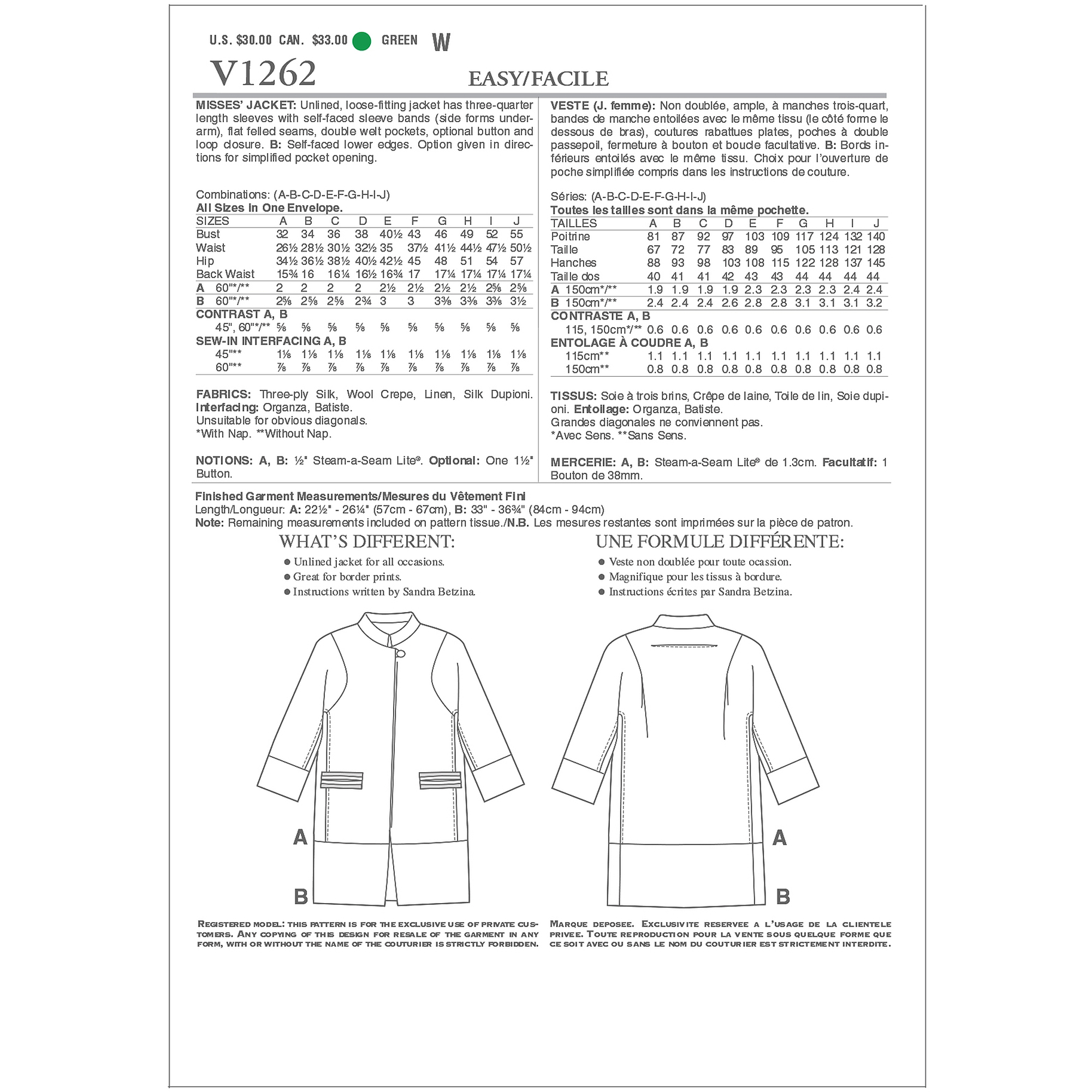 Misses Jacket-All Sizes in One Envelope