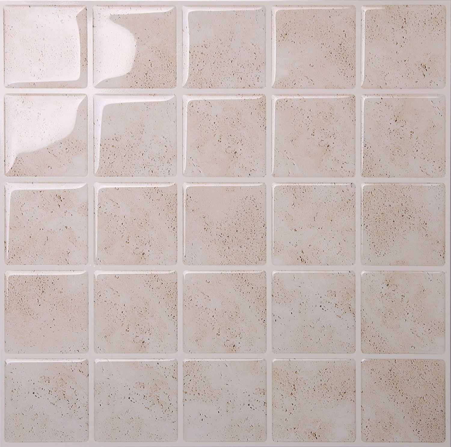 Tic Tac Tiles - Premium Anti Mold Peel and Stick Wall Tile Backsplash in Marmo Travertine