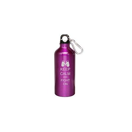 purple 20oz aluminum sports water bottle caribiner clip zw223 keep calm and fight on boxing gloves Bottle Glove Tank Cover