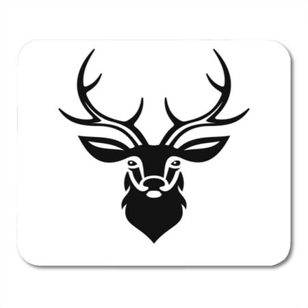 SIDONKU Buck Deer Head Stag Silhouette Reindeer White Black Tail Taxidermy Mousepad Mouse Pad Mouse Mat 9x10 inch