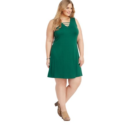 maurices Lattice Neck Swing Dress - Plus Size 24/7 Collection