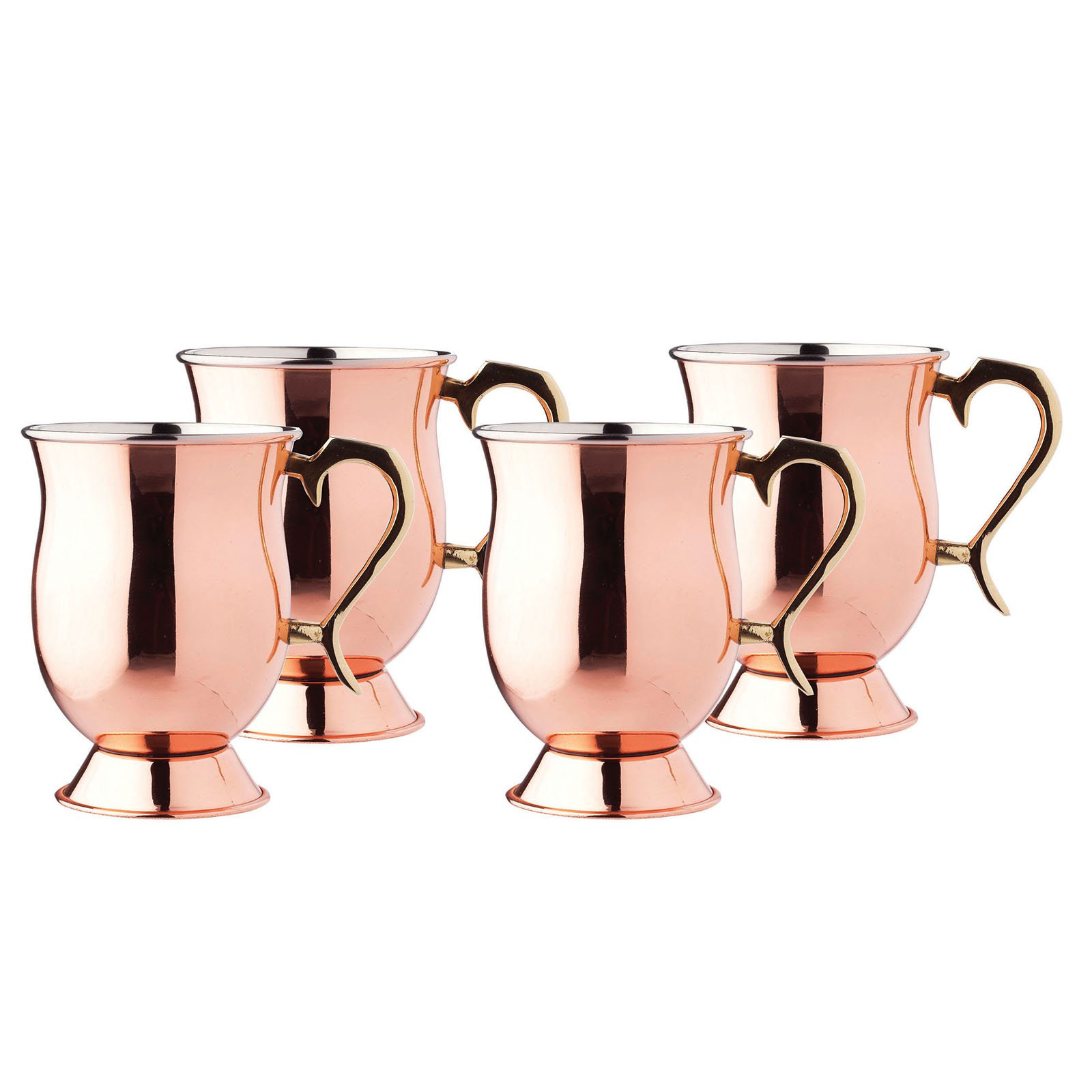 Old Dutch 16 oz. Smooth Tankards with Brass Handle - Set of 4