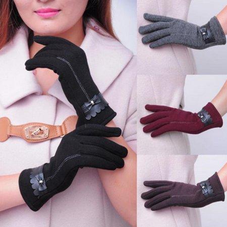 Womens Touch Screen Phone Fleece Windproof Gloves Winter Warm Wear , Dark Gray