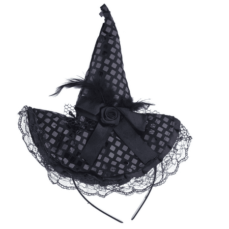 Lux Accessories Halloween Black Purple Lace Flower Feather Witch Hat Headband](Witches Hat Crafts Halloween)