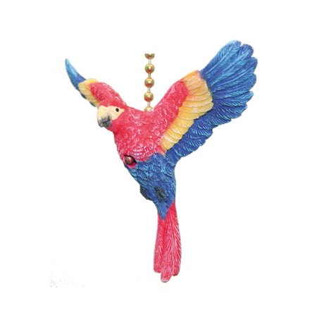 Red Ceiling Fan Pull - Tropical Red and Blue Macaw Parrot Bird Ceiling Fan or Light Pull