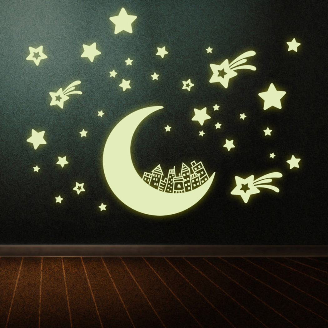 Outgeek Wall Stickers Glow in Dark Luminous Space Star Moon Wall Decor Sticker Decal for Kids Bedroom Room Wall Home