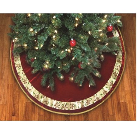 48 poinsettia ribbon bordered burgundy christmas tree skirt w gold cord trim - How To Trim A Christmas Tree