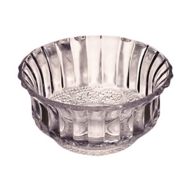 Studio Silversmiths Paneled Round Clear Crystal Candle Tea Light Votive Holder Bowl