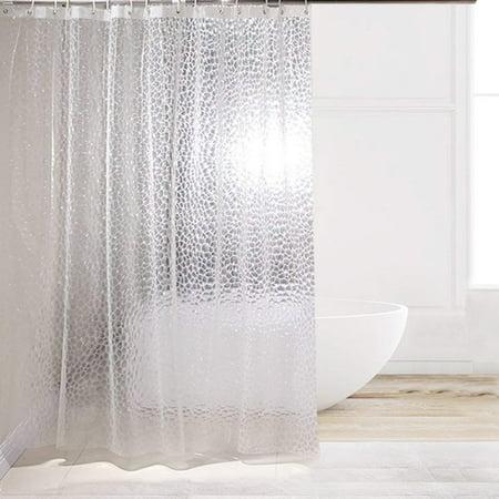 Eforcurtain Fashion 3D Cube Pattern EVA Shower Curtain Liner Water Repellent No Odors Semi Transparent Mildew