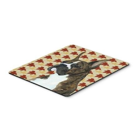 Boxer Brindle Fall Leaves Portrait Mouse Pad, Hot Pad or Trivet