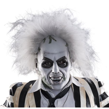 Adult Beetlejuice Deluxe Halloween Mask With Hair](Beetlejuice Mask)