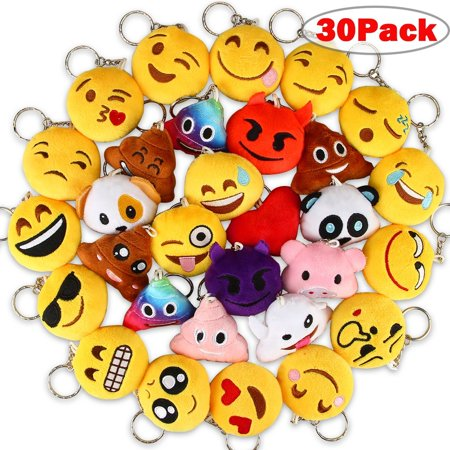 Emoji Keychains Mini Party Favors For Kids 30 Pack Plush Keychain