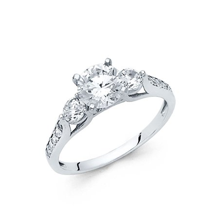 14K Solid White Gold 1.25 cttw Cubic Zirconia Round Cut Three 3 Stone Wedding Engagement Ring with Side Stones, Size 4.5 ()
