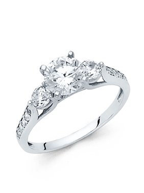 14K Solid White Gold 1.25 cttw Cubic Zirconia Round Cut Three 3 Stone Wedding Engagement Ring with Side Stones, Size 4.5
