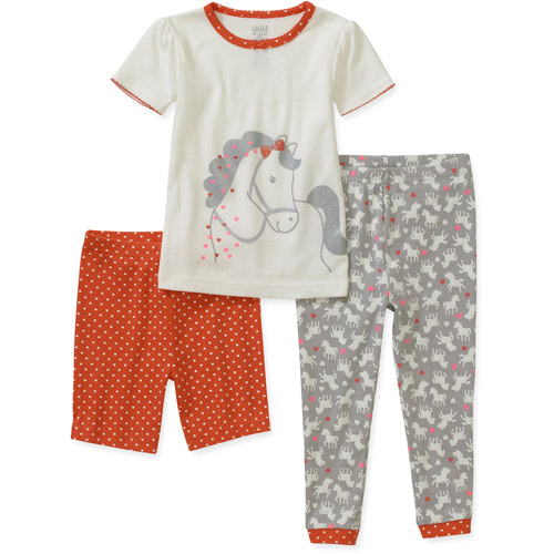 Child of Mine by Carters Baby Girls' 3 Piece Cotton Horse Pajama Set