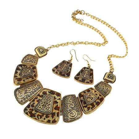 Women Ladies Retro Style Alloy Necklace Earrings Set Elegant Exquisite Jewelry Set Golden Akoya Gold Jewelry Set