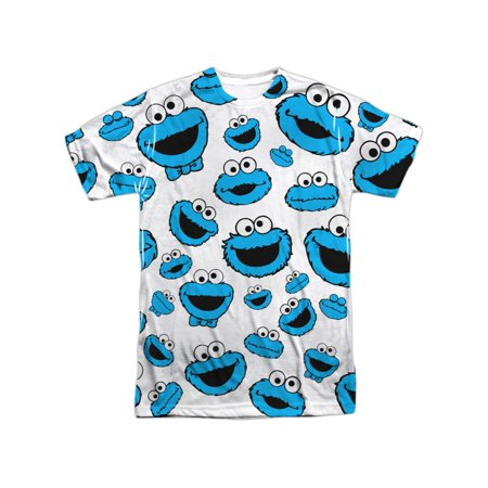 Sesame Street TV Show Cookie Monster Faces Pattern Adult Front Print T-Shirt