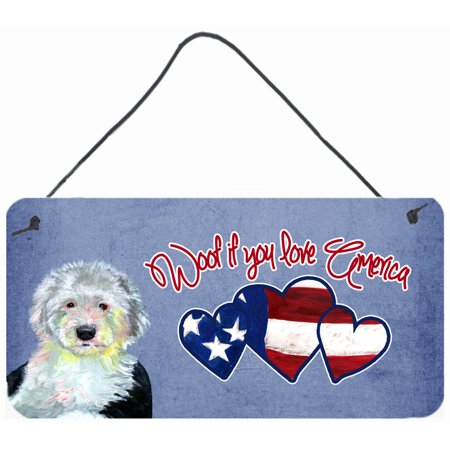Woof if you love America Old English Sheepdog Wall or Door Hanging Prints