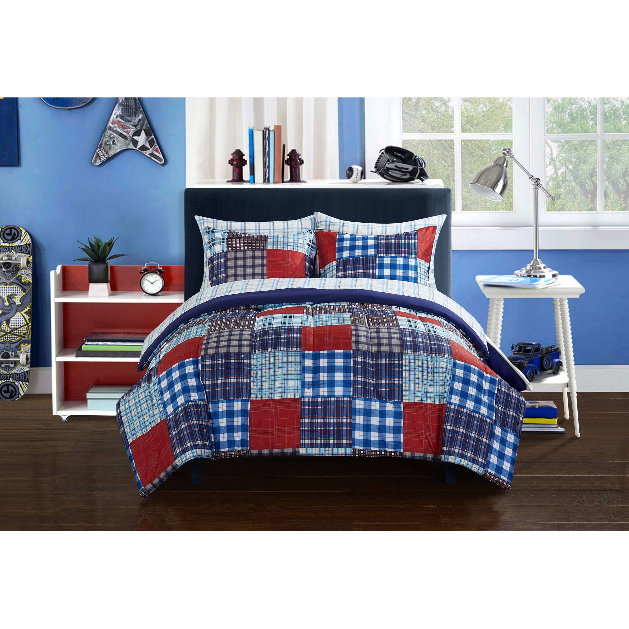 Mainstays Kids Mad Plaid Blue Bed in a Bag Bedding Set by Idea Nuova