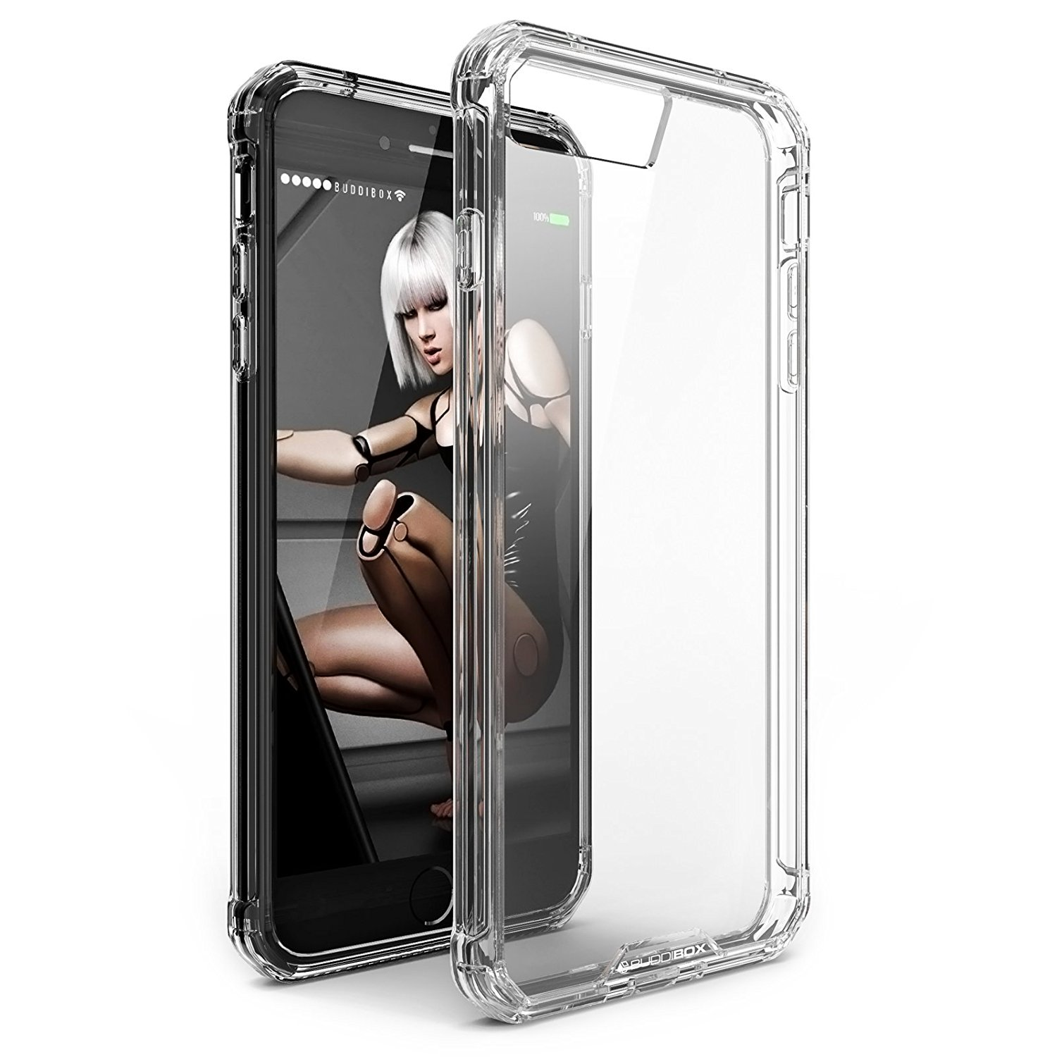 BUDDIBOX iPhone 7 Plus Case / iPhone 8 Plus Case [ICE] Scratch Resistant Clear Bumper Phone Cover Case for Apple iPhone 7 Plus and iPhone 8 Plus