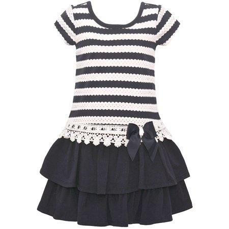 8afd47aec08 Bonnie Jean Little Girls Navy Scalloped Stripe Bow Tiered Easter Dress 4