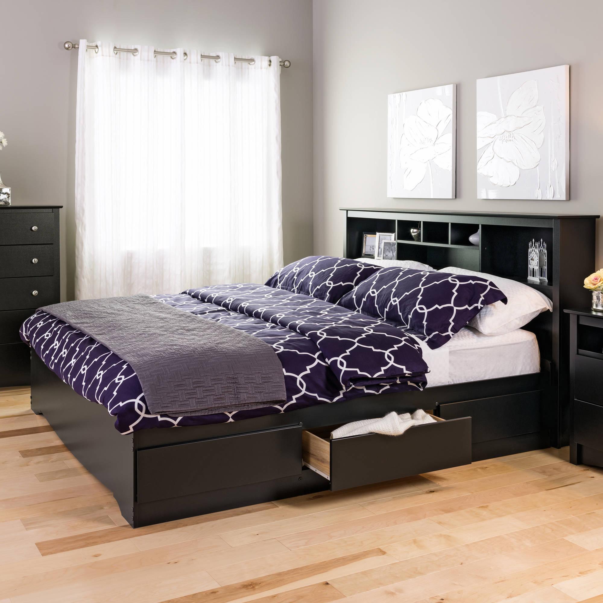 King Mates Platform Storage Bed with 6 Drawers, Black