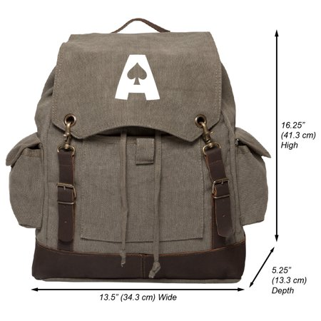 Ace of Spades Vintage Canvas Rucksack Backpack with Leather