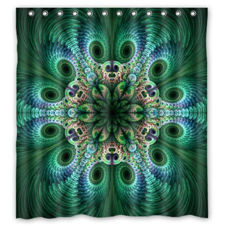 HelloDecor Peacocks Feathers Green Light Shower Curtain Polyester Fabric Bathroom Decorative Curtain Size 66x72 Inches