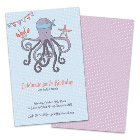 Personalized Octopus Birthday Party Invitations