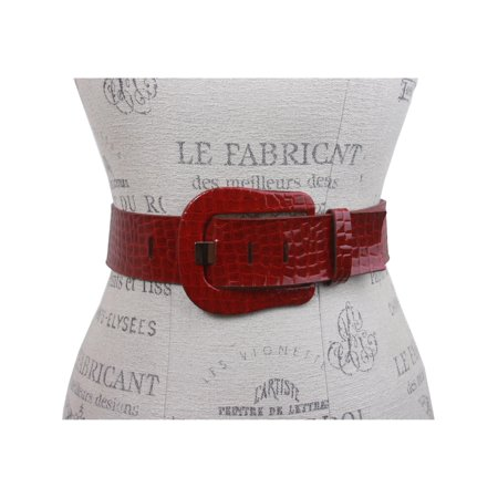 Ladies Croco Print Western Buckle Patent Leather Wide Fashion -
