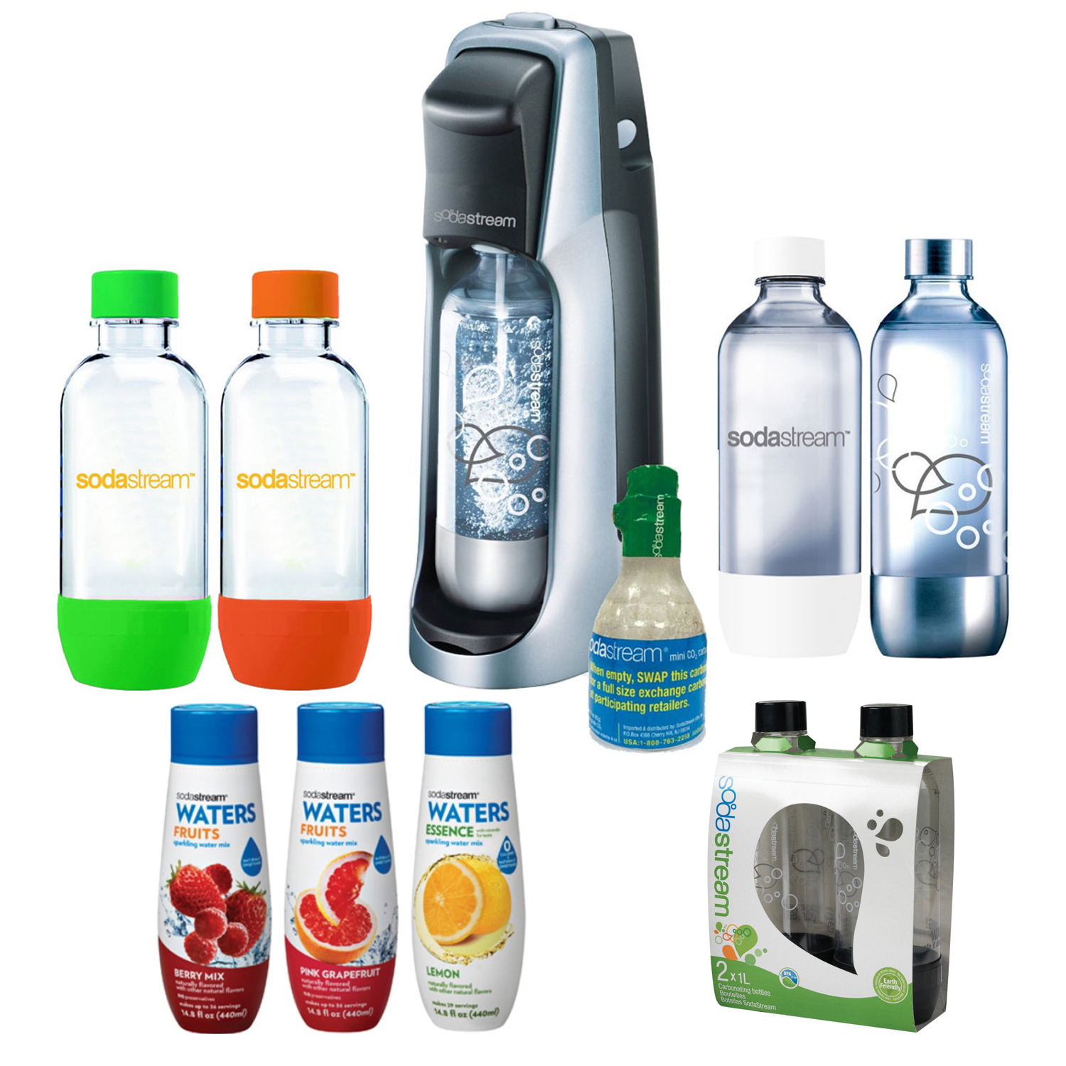 Sodastream Fountain Jet Soda Maker in Blk w/ Exclusive Kit w/ 4 Bottles & Starter Co2, 1l Carbonating Bottles Blk, Water Fruit w/ Berry Mix & Pink Grapefruit Flvr & Water Essence w/ Lemon Flvr