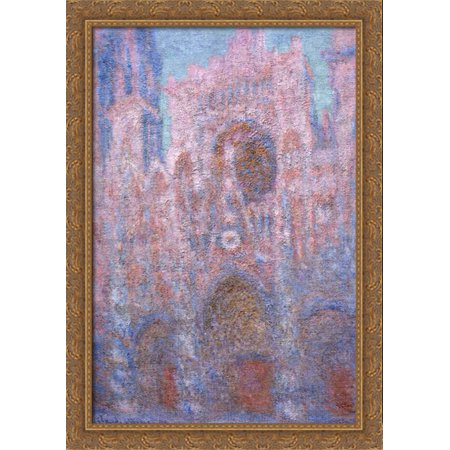 Rouen Cathedral, Symphony in Grey and Rose 28x40 Large Gold Ornate Wood Framed Canvas Art by Claude Monet (Halloween Symphony)