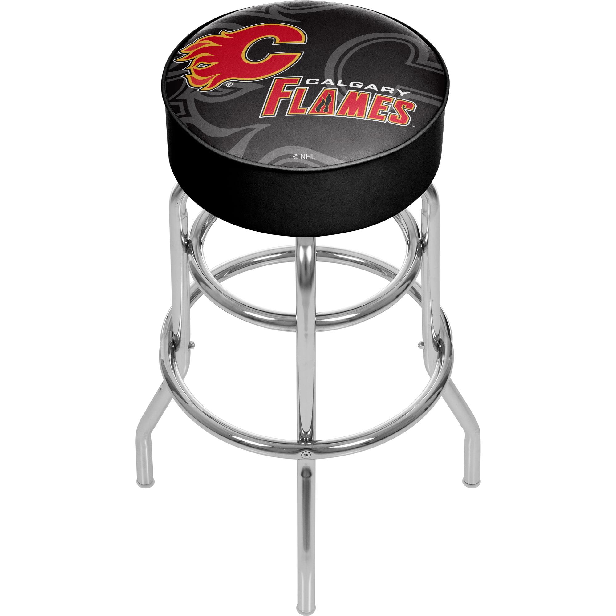 NHL Chrome Bar Stool with Swivel - Watermark - Calgary Flames