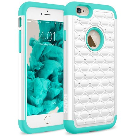 iPhone 6S Plus Case, RANZ Turquoise/ White Diamond Studded Bling Crystal Rhinestone Dual Layer Hybrid Cover Silicone Rubber Skin Hard Case For Apple iPhone 6S Plus/ iPhone 6 Plus (5.5-Inch)