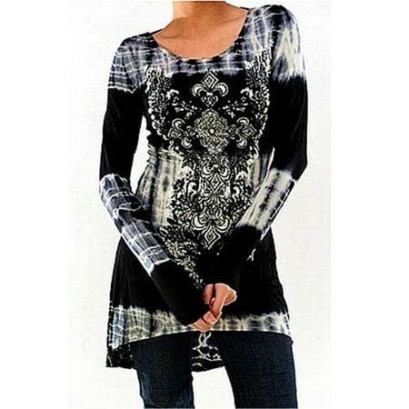 Women's Fashion Long Sleeve Round neck Printing T-shirt Dress Slim High Waist Tie Dye Tops Elastic Waist Long Sleeve Skirt