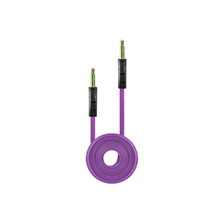Tangle Free Flat Wire Car Audio Stereo Auxiliary Aux Cord Cable Adapter for Kyocera Domino S1310 (Cricket, Metro PCS) - Purple - Purple Domino