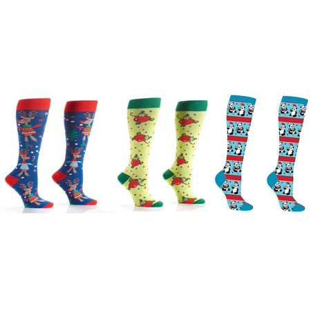 beb4f911001 WeeZ Industries - Bundle of 3 Women s Knee High Socks Christmas Elf Panda  and Reindeer - Walmart.com