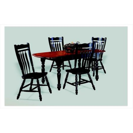 Sunset Trading Drop Leaf Extension Dining Table in Antique Black with Cherry Finish Top