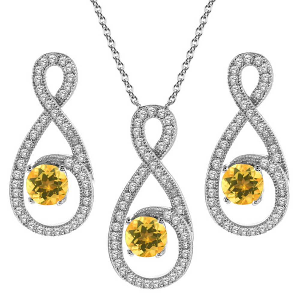 3.15 Ct Round Yellow Citrine 925 Sterling Silver Pendant Earrings Set by