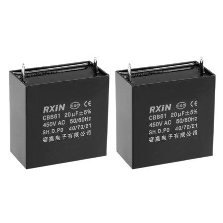 CBB61 450V AC 20uF Single Insert Metallized Polypropylene Film Capacitors 2Pcs - image 3 de 3