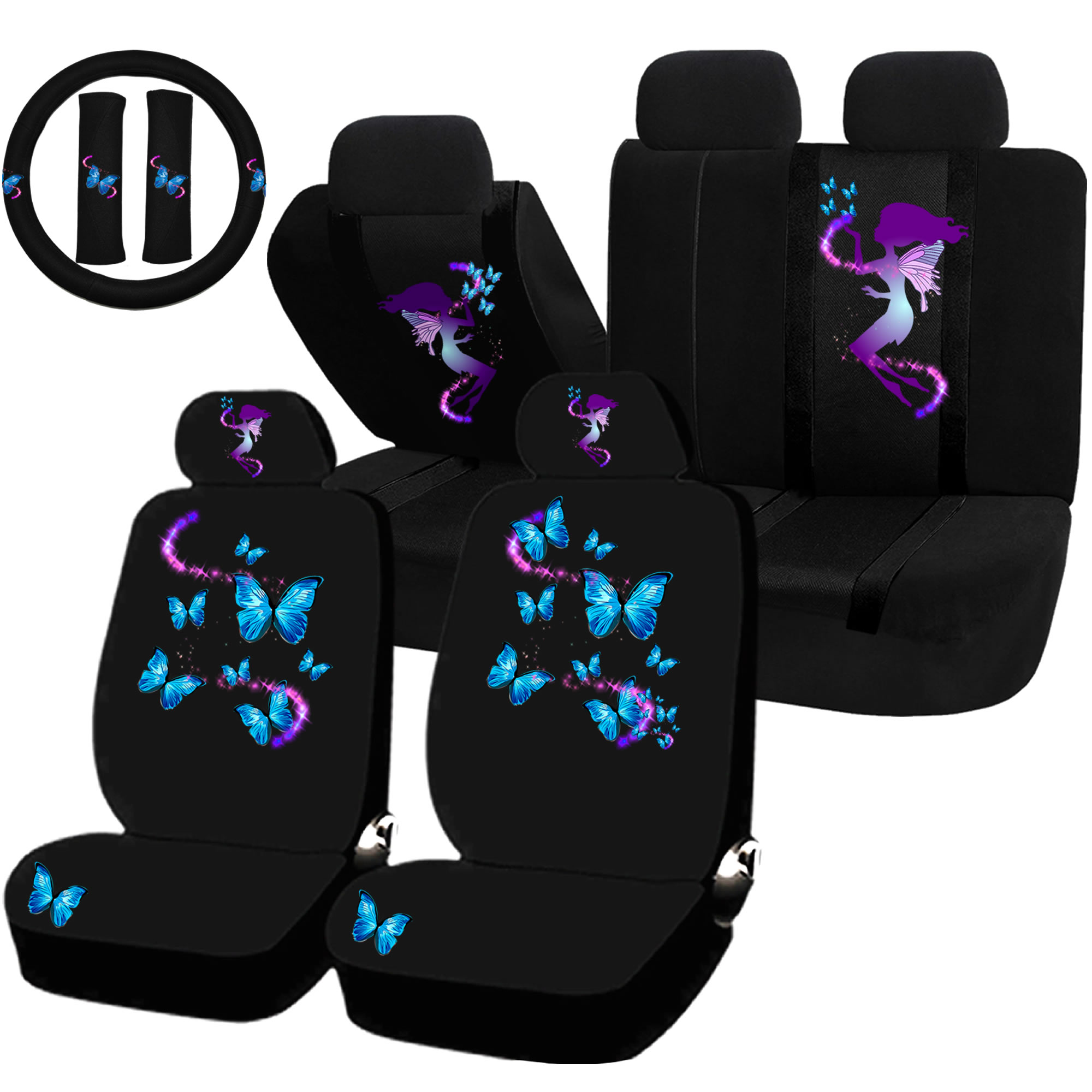 22PC Fairy Butterfly Magical Blue Purple Seat Covers & Steering Wheel Set Universal Car Truck SUV