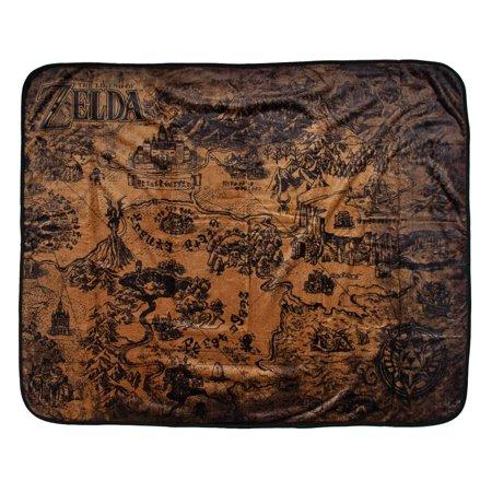 Legend Of Zelda Hyrule Map Plush Throw Blanket 48