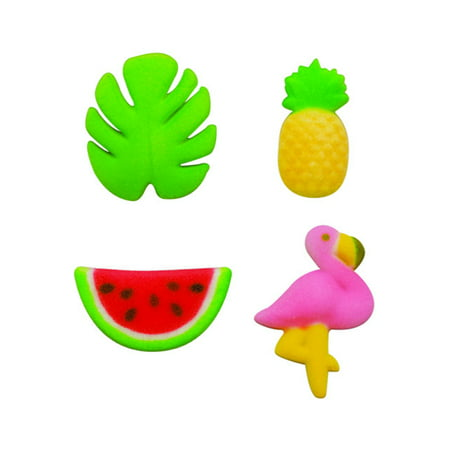 Tropical Summer Watermelon Palm Leaf Pineapple Flamingo Sugar Decorations Toppers Cupcake Cake Cookies Favors Party 12 Count