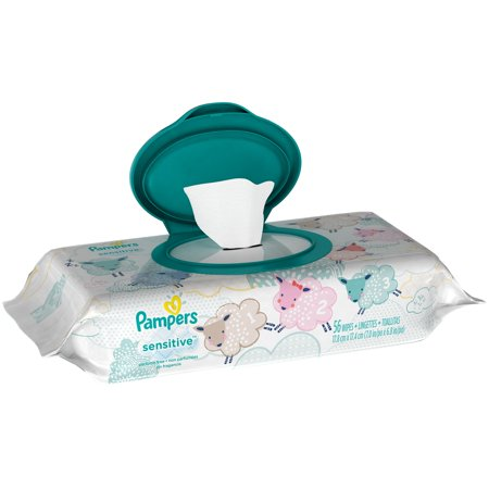 Pampers Sensitive Baby Wipes Unscented 56 Count