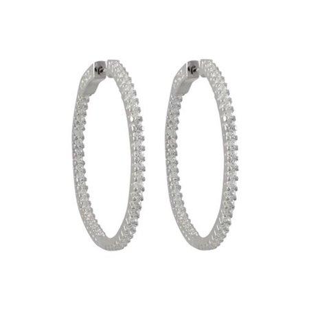 Dlux Jewels Rhodium Plated Sterling Silver Cubic Zirconia Hoop Earrings with Hinge Closure, 20 x 20 mm - image 1 de 1